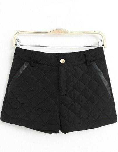 Black Slim Diamond Patterned Shorts