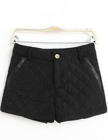Black Slim Diamond Patterned Shorts
