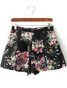 Black High Waist Floral A Line Shorts