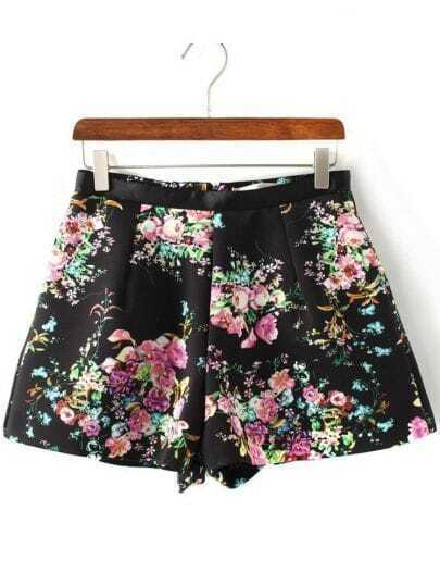 Black High Waist Floral A Line Shorts