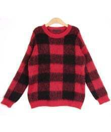 Red Long Sleeve Plaid Mohair Knit Sweater