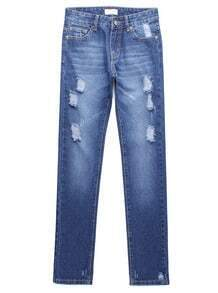 Blue Bleached Ripped Denim Straight Pant