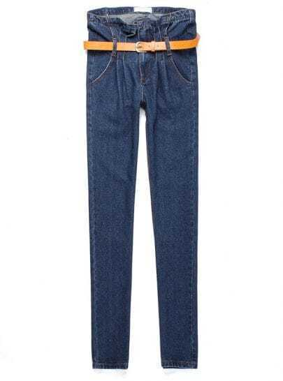 Blue High Waist Ruffle Denim Pant