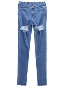 Light Blue Ripped Fringe Denim Pant