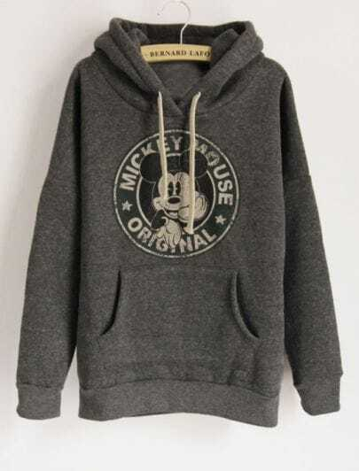 Dark Grey Long Sleeve Hooded Mickey Print Pockets Sweatshirt