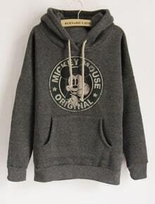 Dark Grey Long Sleeve Hooded Mickey Print Pockets Sweatshirt