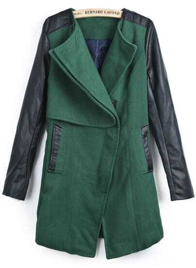 Green Contrast PU Leather Long Sleeve Pockets Coat