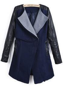 Navy Contrast PU Leather Long Sleeve Pockets Coat