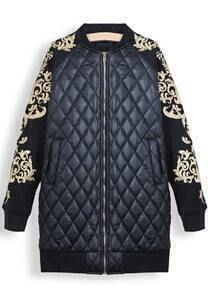 Black Long Sleeve Metallic Yoke Diamond Patterned Parka
