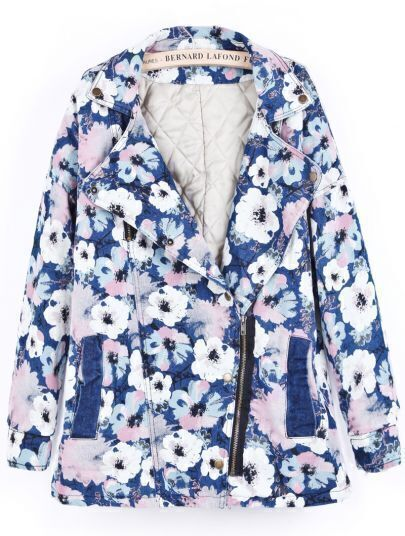 Blue Lapel Long Sleeve Floral Denim Coat