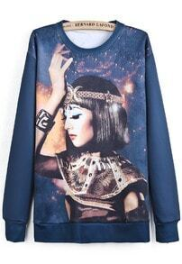 Blue Long Sleeve Goddess Print Loose Sweatshirt