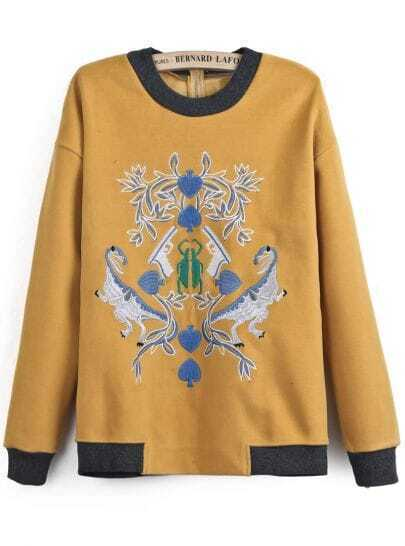 Yellow Long Sleeve Embroidered Loose Sweatshirt