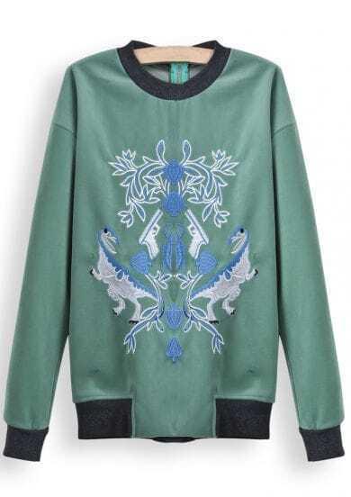 Green Long Sleeve Embroidered Loose Sweatshirt