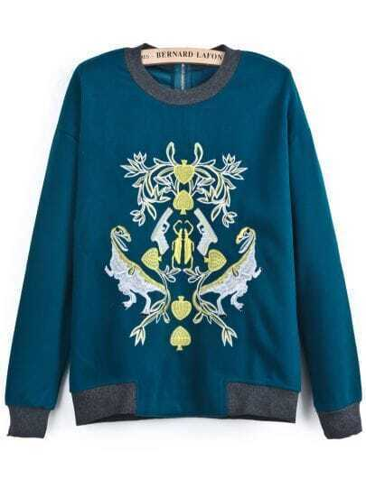 Blue Long Sleeve Embroidered Loose Sweatshirt
