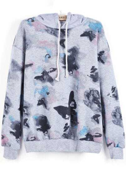 Grey Hooded Long Sleeve Ink Painting Print Sweatshirt