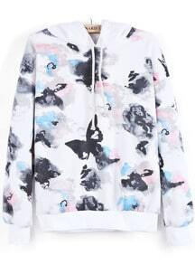 White Hooded Long Sleeve Ink Painting Print Sweatshirt
