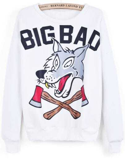 White Long Sleeve BIG BAD Wolf Print Sweatshirt