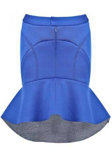 Blue Bodycon Ruffle High Low Skirt