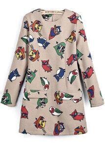 Pink Long Sleeve Owl Print Slim Woolen Dress