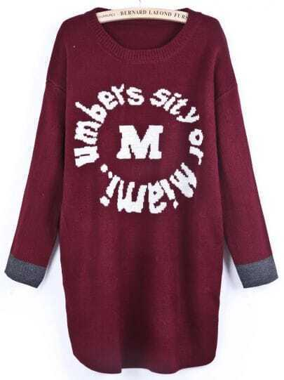 Red Long Sleeve Letters Print Pockets Sweater Dress