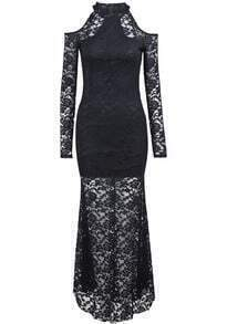 Black Off the Shoulder Long Sleeve Lace Dress