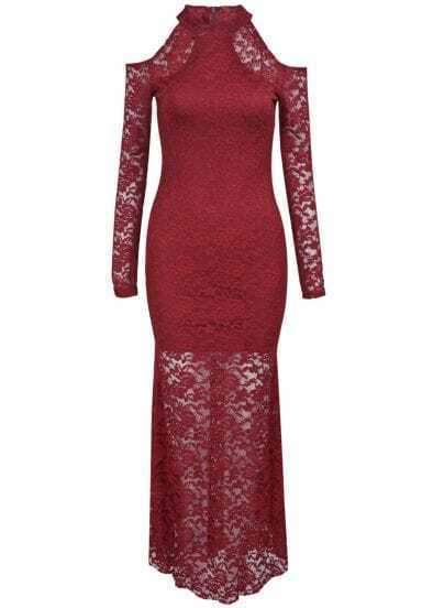 Red Off the Shoulder Long Sleeve Lace Dress