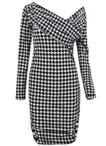 Black White Houndstooth One Shoulder Long Sleeve Bodycon Dress