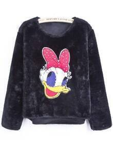 Black Long Sleeve Donald Duck Pattern Bead Sweater