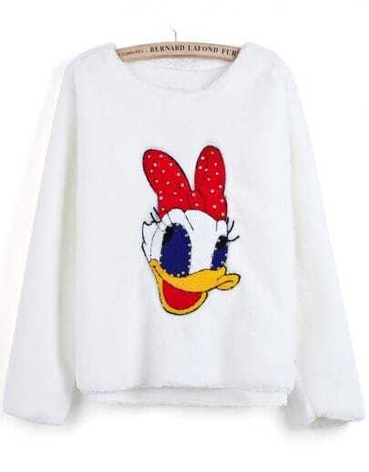 White Long Sleeve Donald Duck Pattern Bead Sweater