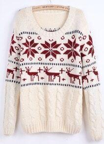 Beige Long Sleeve Snowflake Deer Pattern Sweater