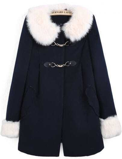 Navy Contrast Faux Fur Collar Long Sleeve Pockets Coat