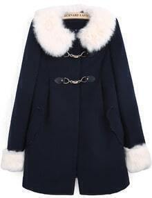 Navy Contrast Faux Fur Collar Long Sleeve Pockets Coat
