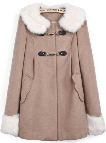 Coffee Contrast Faux Fur Collar Long Sleeve Pockets Coat