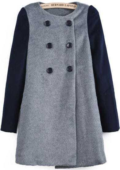 Grey Contrast Long Sleeve Buttons Woolen Coat