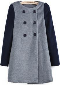 Grey Contrast Long Sleeve Buttons Woolen Coat