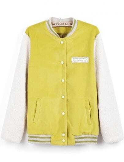 Yellow Contrast Long Sleeve Buttons Coat