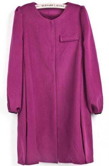 Red Long Sleeve Pocket Embellished Woolen Coat