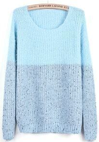 Blue Contrast Grey Long Sleeve Mohair Sweater