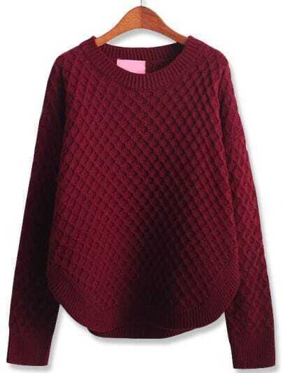 Wine Red Long Sleeve Diamond Patterned Loose Sweater