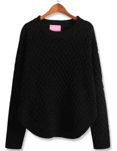 Black Long Sleeve Diamond Patterned Loose Sweater