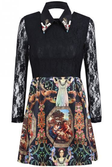 Black Contrast Lace Long Sleeve Vintage Floral Dress