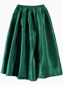 Dark Green Flare Pleated Midi Skirt