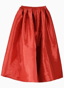 Red Flare Pleated Midi Skirt