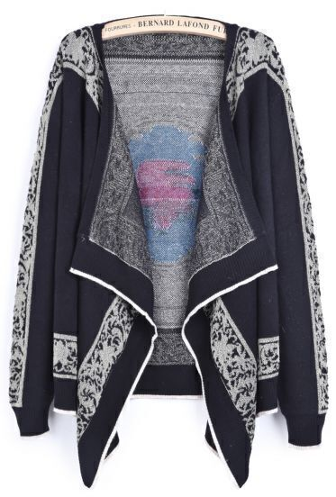 Black Long Sleeve Metallic Yoke Rose Pattern Cardigan