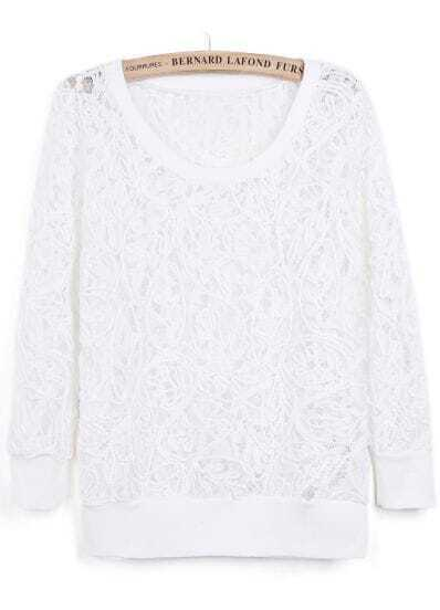 White Round Neck Long Sleeve Lace Sweatshirt