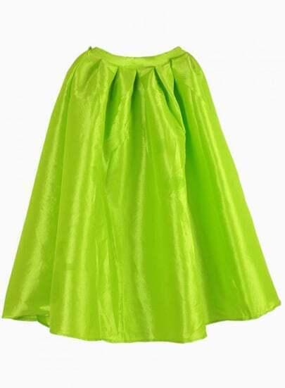 Bright Neon Green Midi Skater Skirt