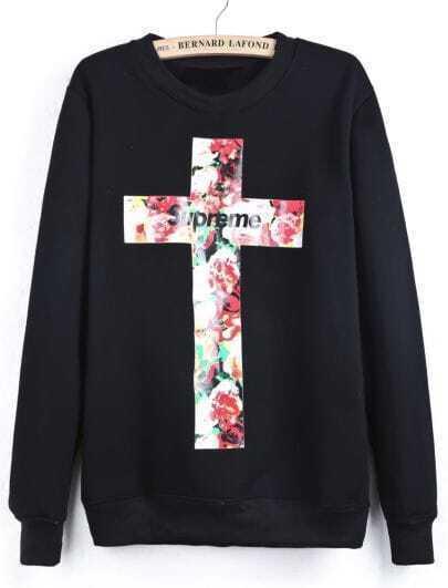 Black Long Sleeve Letters Cross Print Sweatshirt