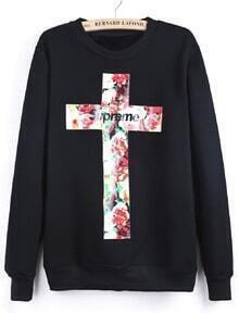 Black Long Sleeve Letters Cross Print Sweatshirt