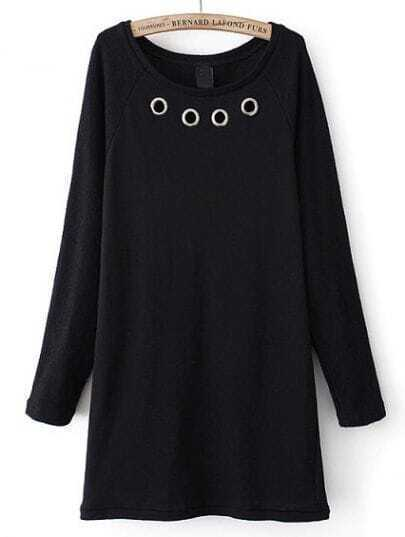 Black Long Sleeve Circle Embellished Dress