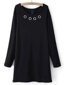 Black Long Sleeve Circle Embellished Dress